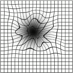 Artists rendition of a square grid when viewed by a person with macular degeneration that shows vision artefacts such as dark spots and distortions.