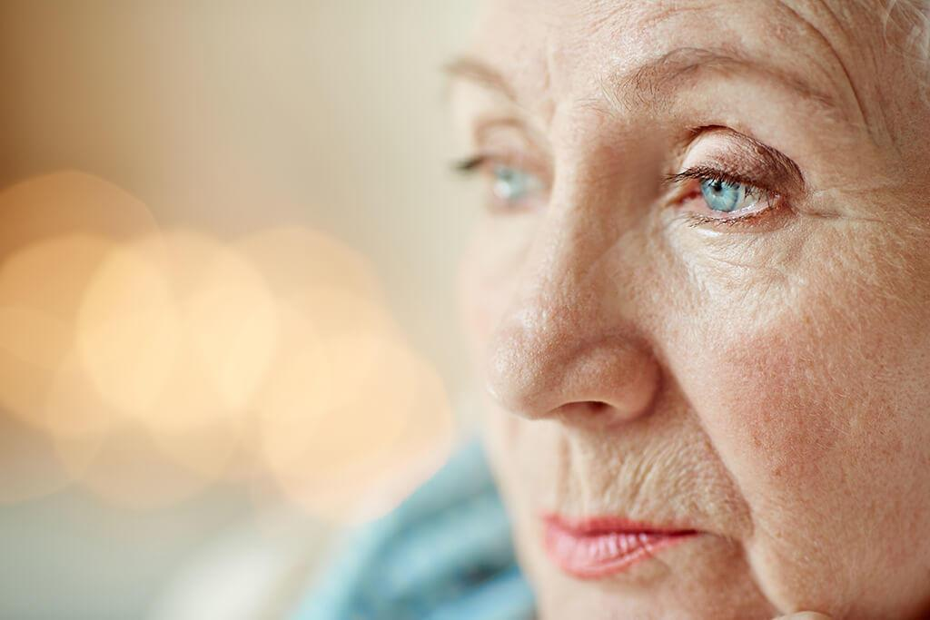 Photo of a senior women's face showing the left eye in fcus